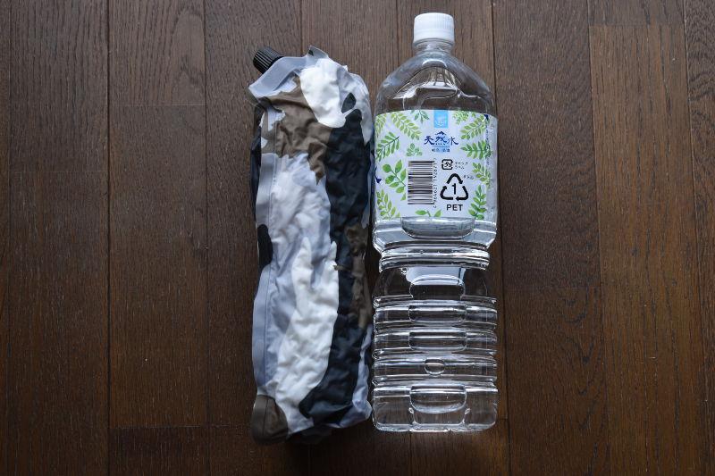 インフレートピロー(カモフラ)とペットボトルの比較