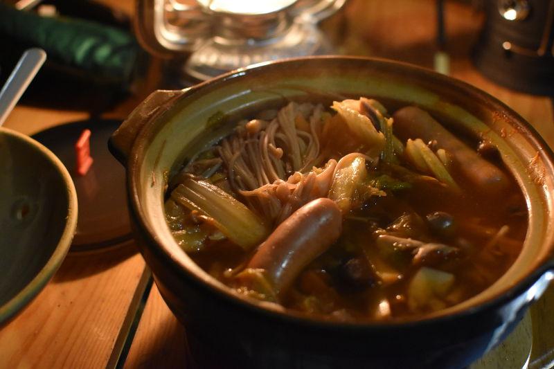 木魂の里でキムチ鍋