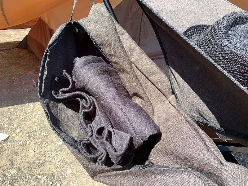 グラムチェアの収納袋をサイドポケットとして利用