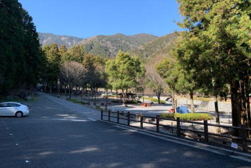 大津谷公園キャンプ場駐車場からの眺め