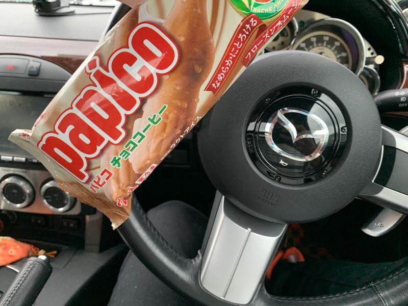 車内でパピコ休憩